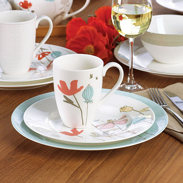 国宝骨瓷:Lenox 莱诺克斯 Poppy 4-Piece Street Bay Dinnerware Set 餐具四件套 49.99刀